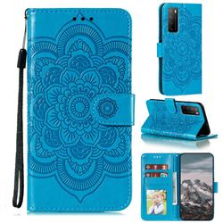 Intricate Embossing Datura Solar Leather Wallet Case for Huawei Mate 40 Lite - Blue