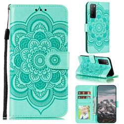 Intricate Embossing Datura Solar Leather Wallet Case for Huawei Mate 40 Lite - Green