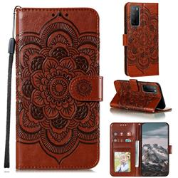 Intricate Embossing Datura Solar Leather Wallet Case for Huawei Mate 40 Lite - Brown