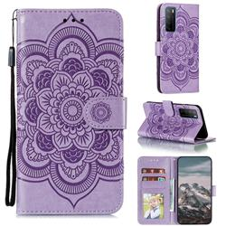 Intricate Embossing Datura Solar Leather Wallet Case for Huawei Mate 40 Lite - Purple