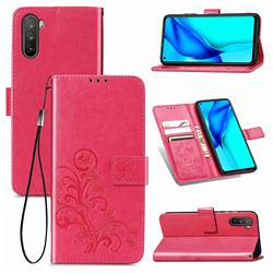 Embossing Imprint Four-Leaf Clover Leather Wallet Case for Huawei Mate 40 Lite - Rose Red