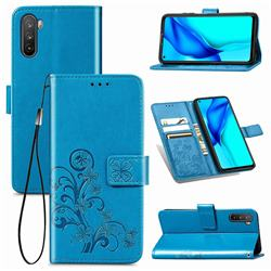 Embossing Imprint Four-Leaf Clover Leather Wallet Case for Huawei Mate 40 Lite - Blue