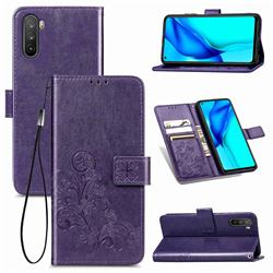 Embossing Imprint Four-Leaf Clover Leather Wallet Case for Huawei Mate 40 Lite - Purple