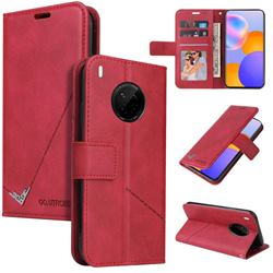 GQ.UTROBE Right Angle Silver Pendant Leather Wallet Phone Case for Huawei Mate 40 Lite - Red