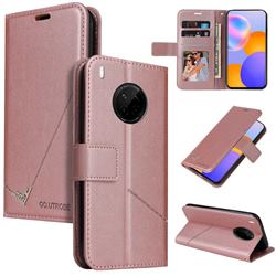 GQ.UTROBE Right Angle Silver Pendant Leather Wallet Phone Case for Huawei Mate 40 Lite - Rose Gold