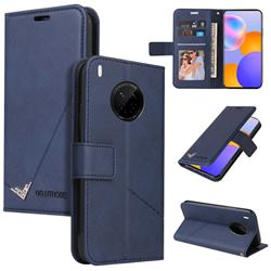 GQ.UTROBE Right Angle Silver Pendant Leather Wallet Phone Case for Huawei Mate 40 Lite - Blue