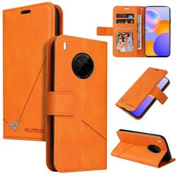 GQ.UTROBE Right Angle Silver Pendant Leather Wallet Phone Case for Huawei Mate 40 Lite - Orange