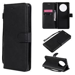 Retro Greek Classic Smooth PU Leather Wallet Phone Case for Huawei Mate 40 Pro - Black