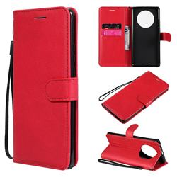 Retro Greek Classic Smooth PU Leather Wallet Phone Case for Huawei Mate 40 Pro - Red