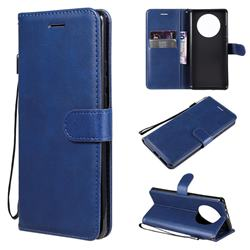 Retro Greek Classic Smooth PU Leather Wallet Phone Case for Huawei Mate 40 Pro - Blue