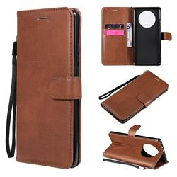 Retro Greek Classic Smooth PU Leather Wallet Phone Case for Huawei Mate 40 Pro - Brown