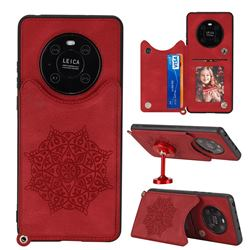 Luxury Mandala Multi-function Magnetic Card Slots Stand Leather Back Cover for Huawei Mate 40 Pro - Red