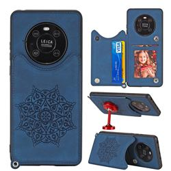 Luxury Mandala Multi-function Magnetic Card Slots Stand Leather Back Cover for Huawei Mate 40 Pro - Blue