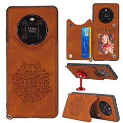 Luxury Mandala Multi-function Magnetic Card Slots Stand Leather Back Cover for Huawei Mate 40 Pro - Brown