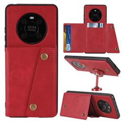 Retro Multifunction Card Slots Stand Leather Coated Phone Back Cover for Huawei Mate 40 Pro - Red