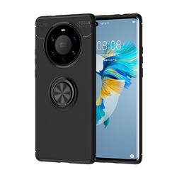 Auto Focus Invisible Ring Holder Soft Phone Case for Huawei Mate 40 Pro+ - Black