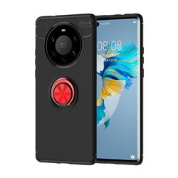 Auto Focus Invisible Ring Holder Soft Phone Case for Huawei Mate 40 Pro+ - Black Red