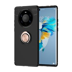 Auto Focus Invisible Ring Holder Soft Phone Case for Huawei Mate 40 Pro+ - Black Gold