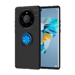 Auto Focus Invisible Ring Holder Soft Phone Case for Huawei Mate 40 Pro+ - Black Blue