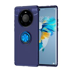 Auto Focus Invisible Ring Holder Soft Phone Case for Huawei Mate 40 Pro+ - Blue