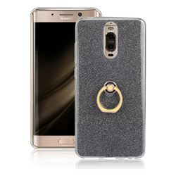 Luxury Soft TPU Glitter Back Ring Cover with 360 Rotate Finger Holder Buckle for Huawei Mate 9 Pro 5.5 inch - Black