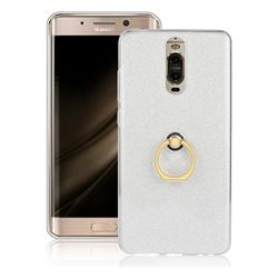 Luxury Soft TPU Glitter Back Ring Cover with 360 Rotate Finger Holder Buckle for Huawei Mate 9 Pro 5.5 inch - White