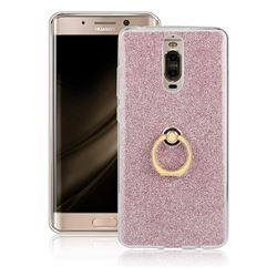 Luxury Soft TPU Glitter Back Ring Cover with 360 Rotate Finger Holder Buckle for Huawei Mate 9 Pro 5.5 inch - Pink