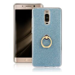Luxury Soft TPU Glitter Back Ring Cover with 360 Rotate Finger Holder Buckle for Huawei Mate 9 Pro 5.5 inch - Blue