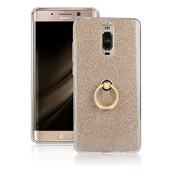 Luxury Soft TPU Glitter Back Ring Cover with 360 Rotate Finger Holder Buckle for Huawei Mate 9 Pro 5.5 inch - Golden