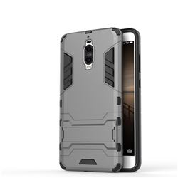 Armor Premium Tactical Grip Kickstand Shockproof Dual Layer Rugged Hard Cover for Huawei Mate 9 Pro 5.5 inch - Gray