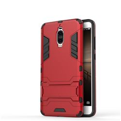 Armor Premium Tactical Grip Kickstand Shockproof Dual Layer Rugged Hard Cover for Huawei Mate 9 Pro 5.5 inch - Wine Red
