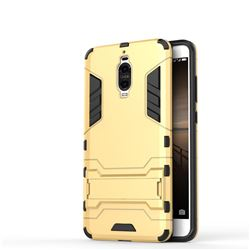 Armor Premium Tactical Grip Kickstand Shockproof Dual Layer Rugged Hard Cover for Huawei Mate 9 Pro 5.5 inch - Golden