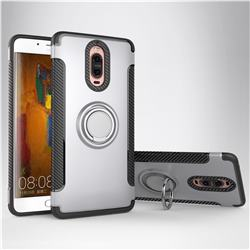 Armor Anti Drop Carbon PC + Silicon Invisible Ring Holder Phone Case for Huawei Mate 9 Pro 5.5 inch - Silver