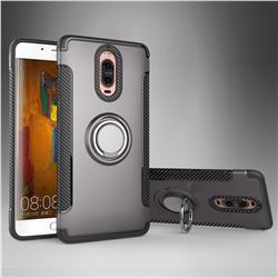 Armor Anti Drop Carbon PC + Silicon Invisible Ring Holder Phone Case for Huawei Mate 9 Pro 5.5 inch - Grey