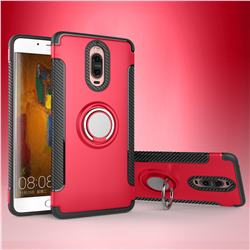 Armor Anti Drop Carbon PC + Silicon Invisible Ring Holder Phone Case for Huawei Mate 9 Pro 5.5 inch - Red
