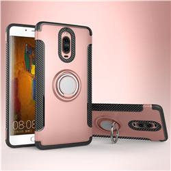 Armor Anti Drop Carbon PC + Silicon Invisible Ring Holder Phone Case for Huawei Mate 9 Pro 5.5 inch - Rose Gold