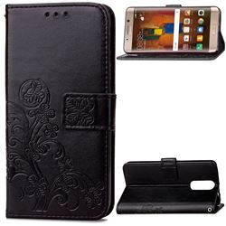 Embossing Imprint Four-Leaf Clover Leather Wallet Case for Huawei Mate 9 Pro 5.5 inch - Black