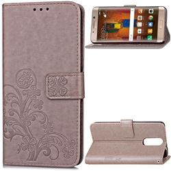 Embossing Imprint Four-Leaf Clover Leather Wallet Case for Huawei Mate 9 Pro 5.5 inch - Grey