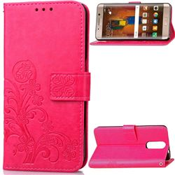 Embossing Imprint Four-Leaf Clover Leather Wallet Case for Huawei Mate 9 Pro 5.5 inch - Rose