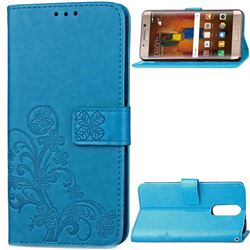 Embossing Imprint Four-Leaf Clover Leather Wallet Case for Huawei Mate 9 Pro 5.5 inch - Blue