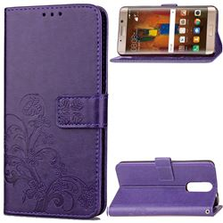 Embossing Imprint Four-Leaf Clover Leather Wallet Case for Huawei Mate 9 Pro 5.5 inch - Purple