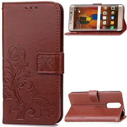 Embossing Imprint Four-Leaf Clover Leather Wallet Case for Huawei Mate 9 Pro 5.5 inch - Brown