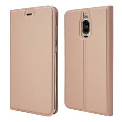 Ultra Slim Card Magnetic Automatic Suction Leather Wallet Case for Huawei Mate 9 Pro 5.5 inch - Rose Gold