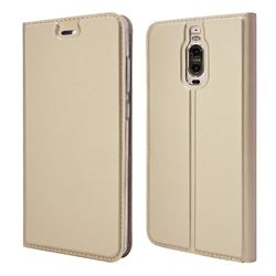 Ultra Slim Card Magnetic Automatic Suction Leather Wallet Case for Huawei Mate 9 Pro 5.5 inch - Champagne