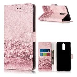 Glittering Rose Gold PU Leather Wallet Case for Huawei Mate 9 Pro 5.5 inch