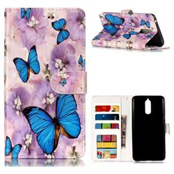 Purple Flowers Butterfly 3D Relief Oil PU Leather Wallet Case for Huawei Mate 9 Pro 5.5 inch