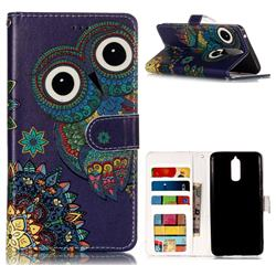 Folk Owl 3D Relief Oil PU Leather Wallet Case for Huawei Mate 9 Pro 5.5 inch