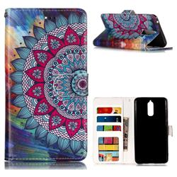Mandala Flower 3D Relief Oil PU Leather Wallet Case for Huawei Mate 9 Pro 5.5 inch