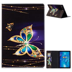 Golden Shining Butterfly Folio Stand Leather Wallet Case for Huawei MediaPad M5 10 / M5 10 inch (Pro)