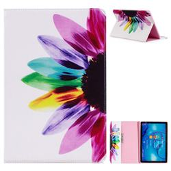Seven-color Flowers Folio Stand Leather Wallet Case for Huawei MediaPad M5 10 / M5 10 inch (Pro)